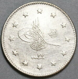 1901-Turkey-2-Kurush-1293-27-Ottoman-Empire-Sultan-Silver-Coin-19100501R
