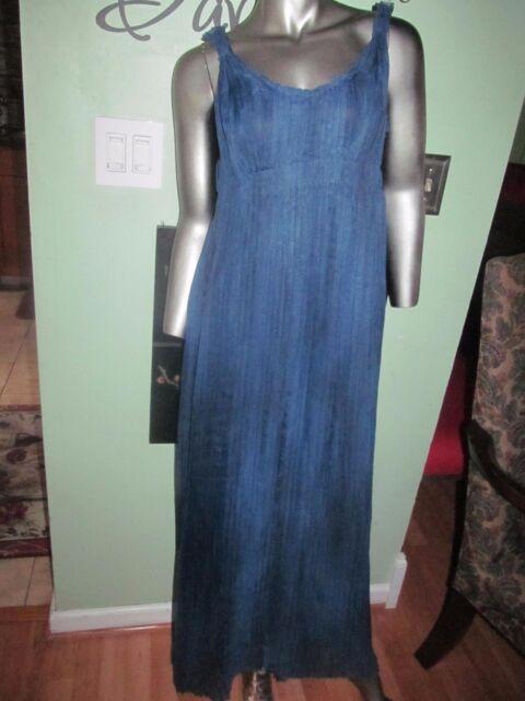 1e239d877b Elie Tahari Denim Blue Empire Waist Pleated Maxi Dress SZ 4 MSRP  528.00