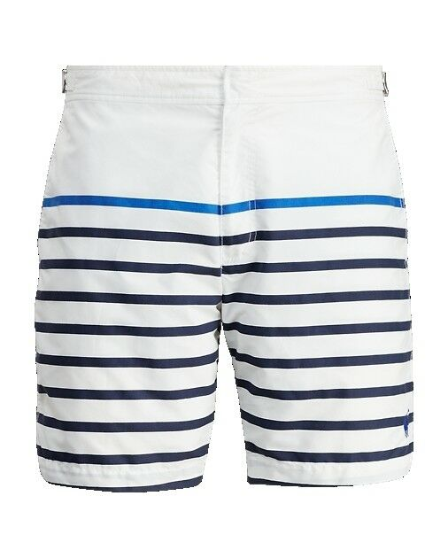 ff726d3db1 Polo Ralph Lauren Men 7-inch Monaco Striped Swim Trunk White Stripe Size 42  for sale online | eBay
