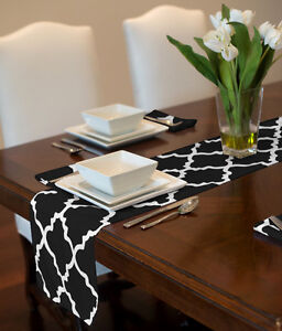 Image Is Loading BLACK WHITE TRELLIS MODERN TABLE RUNNER TOPPER PARTY