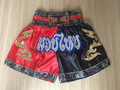 Muay Thai Shorts  Red//Black Satin Silk  Size XXL