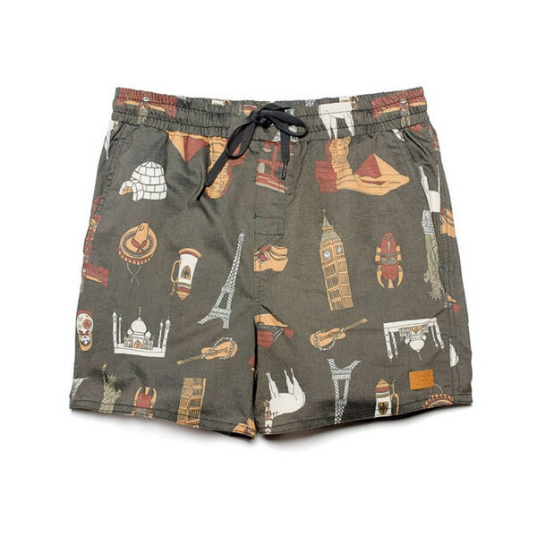 Brixton Clothing Havana Trunk Surf Board Shorts Charcoal