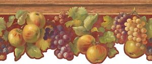 Wallpaper-Fruit-Border-Apples-Berries-Grapes-with-Ivy-on-Red-Crackle-amp-Wood-Trim