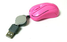 Mini Pink USB Mouse Retractable Cable Optical Scroll Wheel 4 PC Laptop/Notebook