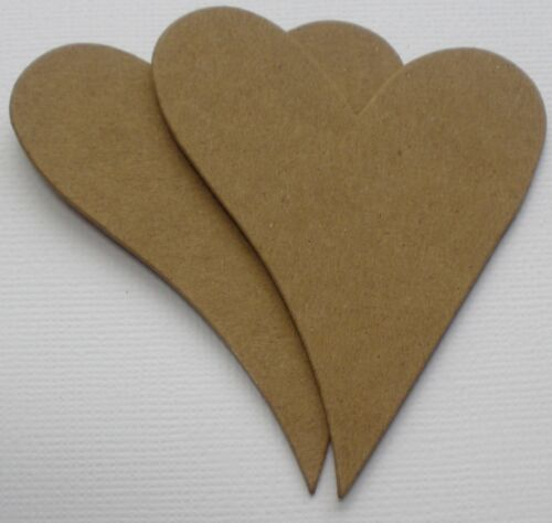 Embellishment Bare Chipboard Die Cuts {4} CURVY HEARTS
