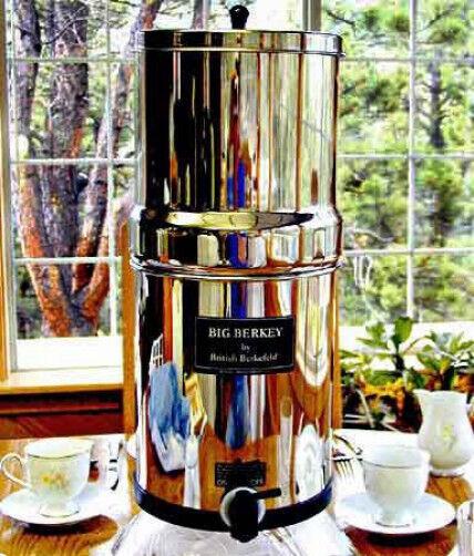 "Big Berkey Filter System w/ 2 9"" White Ceramic Filters & 7.5"" Water Level Spigot"