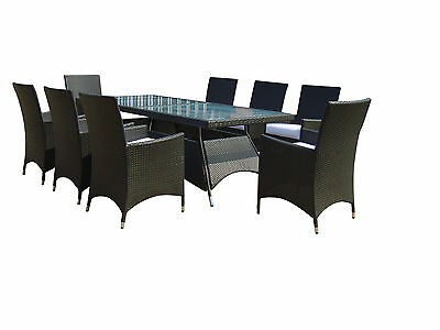 Savannah 9 Piece Patio Furniture Outdoor Dining Set Black or Brown Wicker