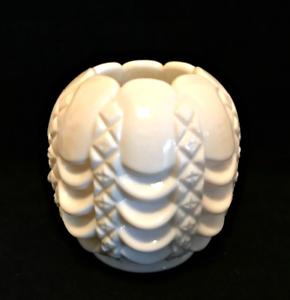 Fostoria-Milk-Glass-Swag-Drape-Diamond-Rose-Bowl-Vase-1950s-4-5-inches-Tall
