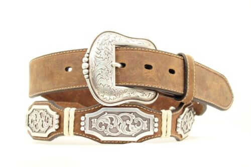 ARIAT Scallop LEATHER Rawhide ~Silver Buckle~ MAN WESTERN BELT Cowboy A10106 16