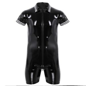 33bbc60c41f8 Image is loading Mens-Lingerie-Patent-Leather-Wetlook-Zipper-Leotard- Jumpsuit-