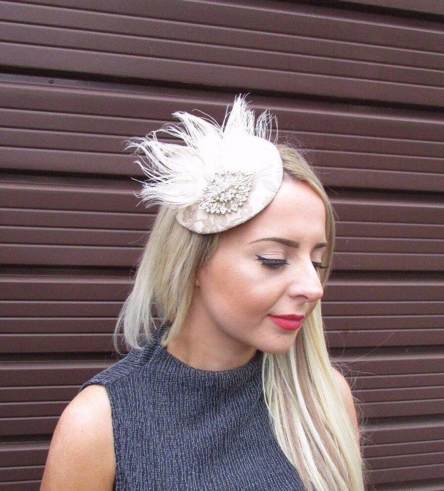 Champagne Beige Cream Gold Statement Fascinator Pillbox Hat Races Hair Vtg 6410