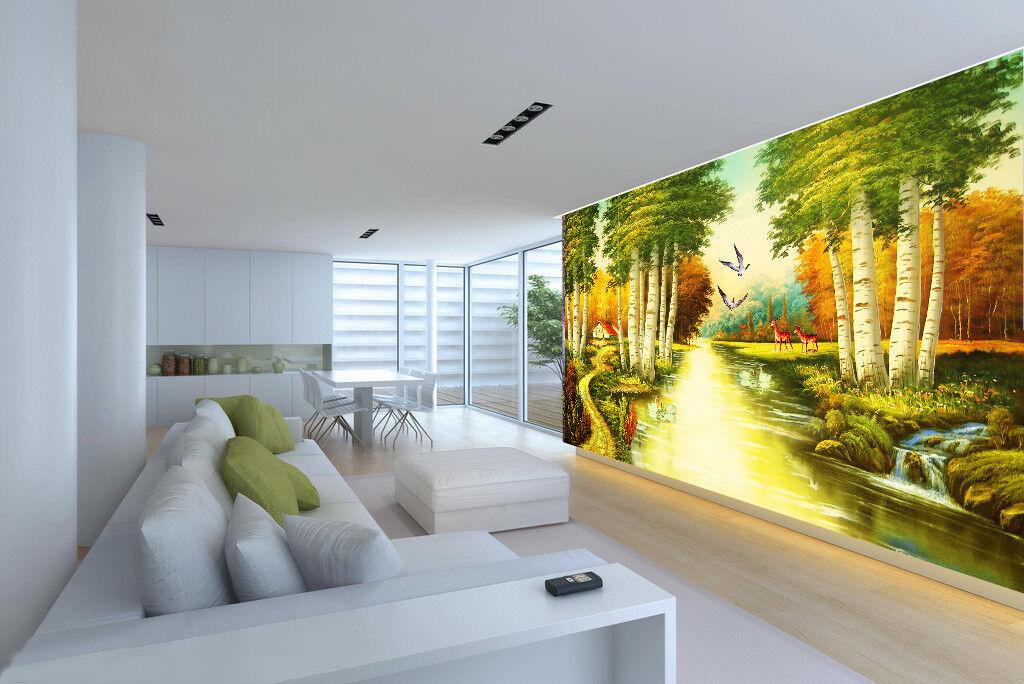 3D Road Trees 4184 Wallpaper Murals Wall Print Wallpaper Mural AJ WALL UK Lemon