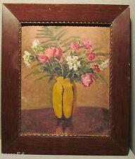Altes Ölgemälde Stillleben Vase mit  Blumen Blumenstrauß