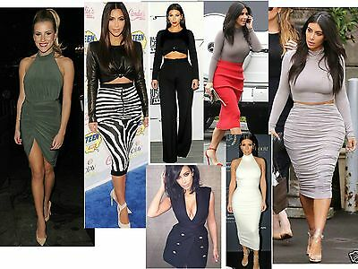 Womens ladies celeb two piece Polo Crop Top Midi Skirt dress size 8-22 lot A1