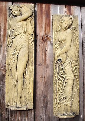 Pair classical wall plaques female figures water bearers stone ornaments 43cmH