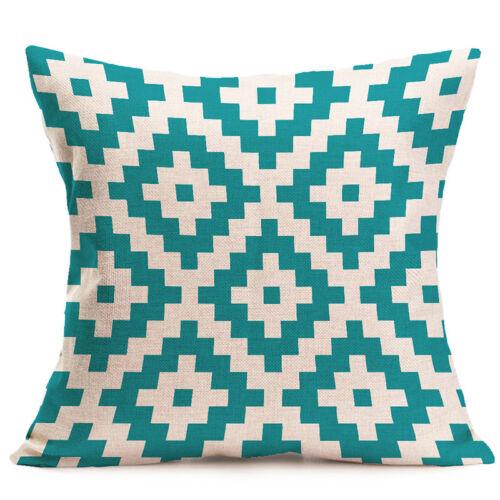 Vintage Geometric Flower Cotton Linen Throw Pillow Case Cushion Cover Home Decor