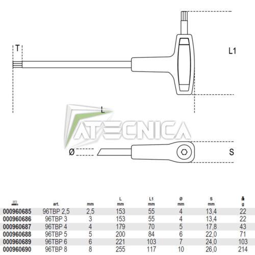Set di 6 chiavi esagonali a T con punta sferica Beta 96TBP //S6 da 2,5 a 8 mm