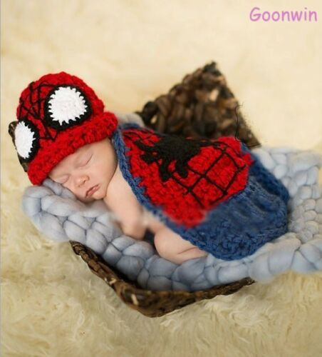 Neugeborene Baby Knit Strick Fotoshooting Kostüm Spiderman Mütze Mantel
