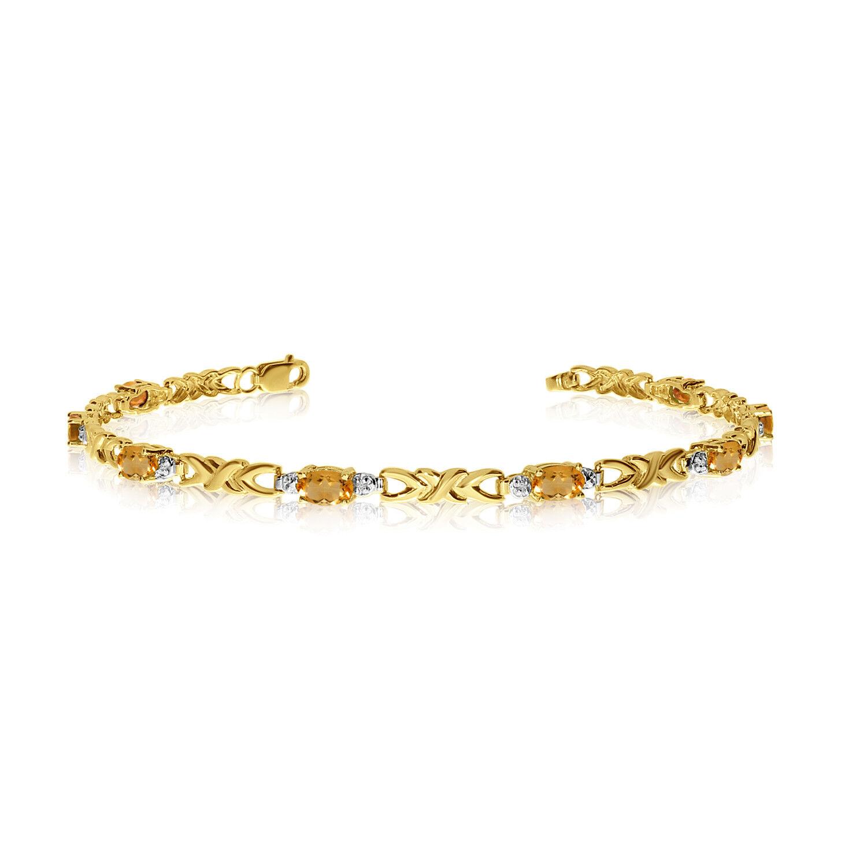 14K Yellow gold Oval Citrine and Diamond Bracelet