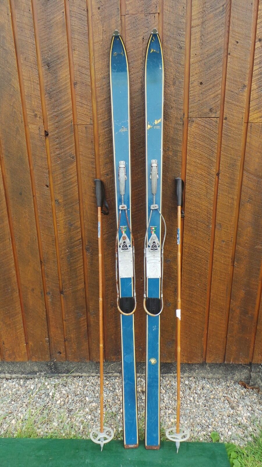 Vintage Wooden 74  Long Blau FINISH Skis with Cable Bindings + Bamboo Poles