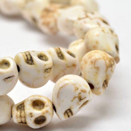 1 filamento sintético marfil cráneo granos 49 piezas 8mm