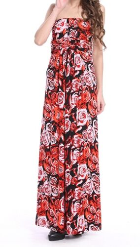 Sizes 8 10 or Medium New Stella Black or Red Floral Bandeau Maxi Long Dress