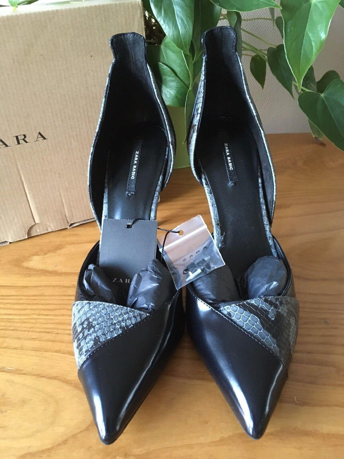 Donna Zara in vernice nera grigio grigio grigio ecopelle Serpente a Punta Tg EU 39 BNWB cc9658