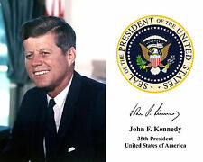 John F. Kennedy JFK Presidential Seal Autograph 8 x 10 Photo Photograph Picture