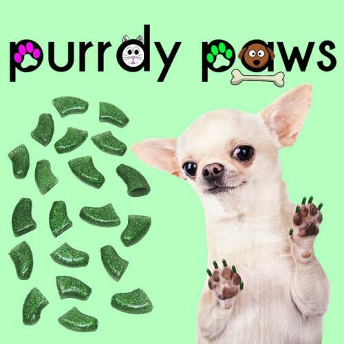 6 Sizes up to XXL * Purrdy Paws GREEN GLITTER Soft Nail Caps For Dog Claws
