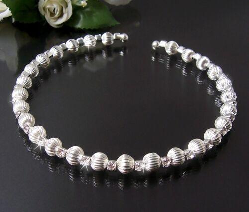 Kette Halskette Choker Silber Perlen Strass Schmuck Party Hochzeit Tanzen K1851