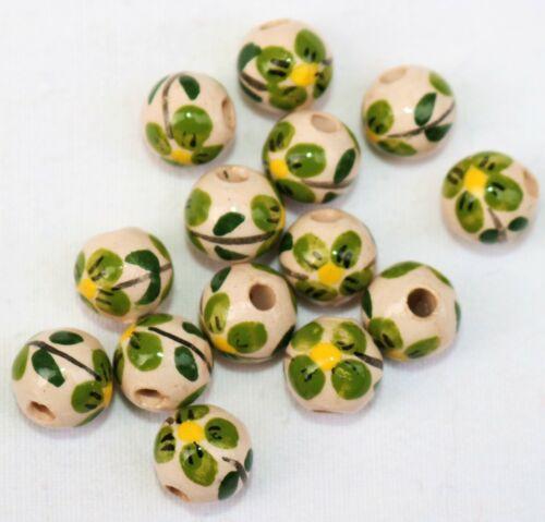 14 Keramik Kugel Perlen 10 mm rund Blume grün Perle handgemalt,Schmuck basteln