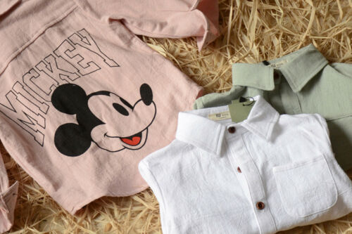 Kid Baby Boys Korea Short Sleeves Mickey Mouse White 100/% Cotton Shirts Tops