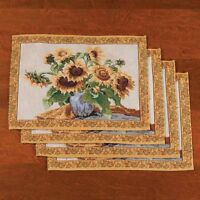 Sunflower Floral Fabric Placemats Set Of 4 Dining Table Linen Blue Vase Yellow