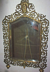 19th Century Antique Large Ornate Brass Mirror with Bacchus/Dionysus Head