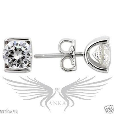 AAA Grade Round CZ Cubic Zircon Rhodium on 925 Sterling Silver Earrings 0W178
