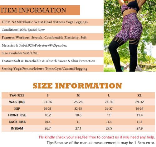 UK Women High Waist Yoga Leggings Training Pants Running Exercise Sport Trousers