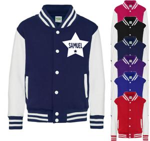 Personalised Name in Star Kids Varsity Jacket American Style Collage Jacket Coat