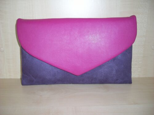 Fuchsia pink /& purple faux leather envelope clutch bag fully  lined BN,