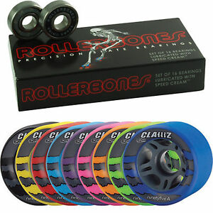 Clawz-Roller-Skate-Wheels-With-Rollerbones-8mm-Bearings-Full-Set-of-8