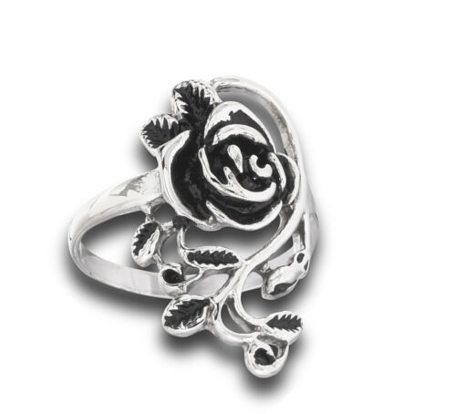Flower Rose Vine Leaf Filigree Wide Ring New Stainless Steel Band Sizes 6-10
