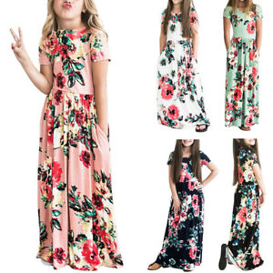 Kids Girls Summer Floral Long Maxi Dress Casual Party Beach Sundress with Pocket
