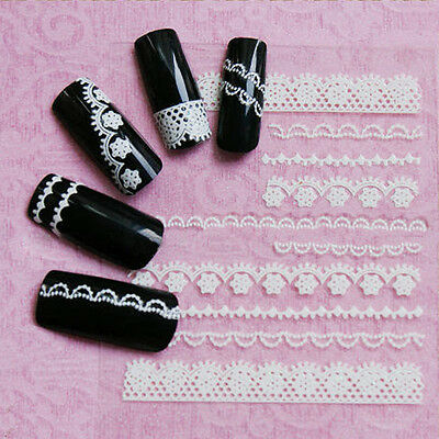 3pcs 3D White Lace Crystal Nail Art Tips Stickers Wraps Decal Manicure Deco DIY