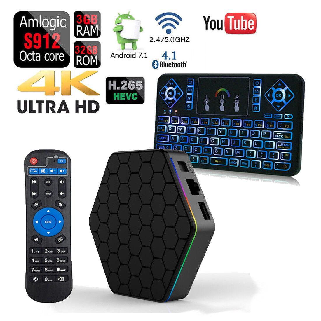 s-l1600 T95Z PLUS Octa Core 32GB 3GB Android 7.1 1080p TV Box+Q9 Color Backlit Keyboard