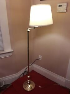 Details About 5u0027 Polished Brass Floor Lamp With Adjustable Arm U0026 Shade