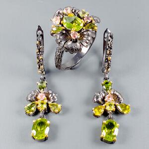 Handmade-Natural-Peridot-925-Sterling-Silver-SET-Ring-Size-8-5-R111014