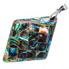 "Mother of Pearl Natural Abalone Sea Shell Rhombus Pendant 2"" Jewelry #23-Z"