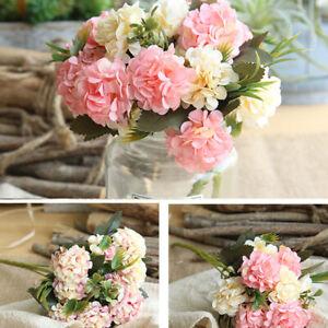 Bouquet de fleurs artificielles d'hortensia en soie artificielle Bouquet de  EC