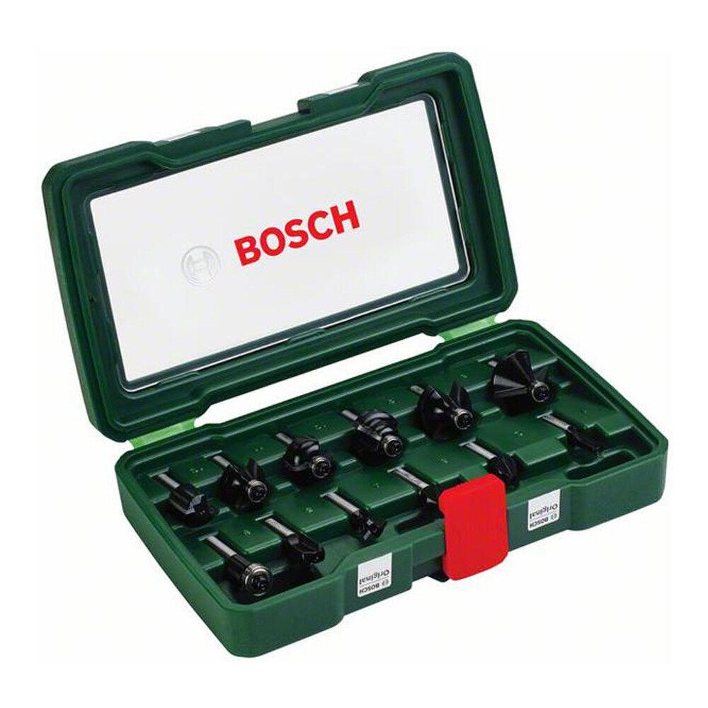 BOSCH Fräser-Set-HM 12-teilig 8 mm Schaft Abrundfräser Hohlkehlfräser NEU