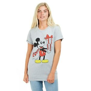 Disney-Mickey-Mouse-Mickey-Christmas-Ladies-Oversized-T-shirt-Grey