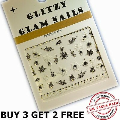 3D SPIDERS & COBWEBS WITH GOLD ORBS HALLOWEEN NAIL ART STICKERS (H4)